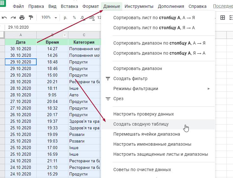 Создаем сводные таблицы в Гугл Докс