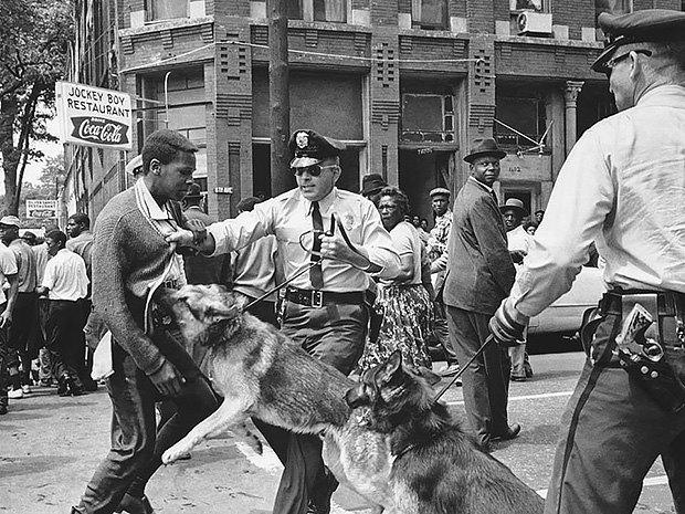 Собака нападает на черного мальчика, М.Л. Кинг