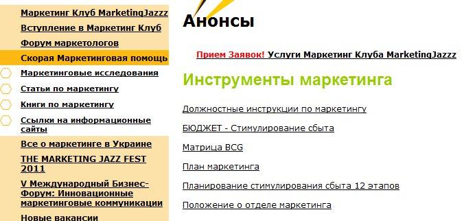 Работа с меню: поведение пользователя на сайте