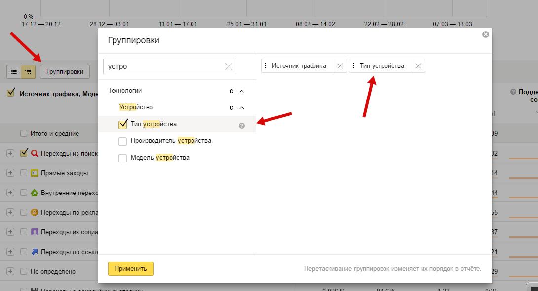 Настройка группировка в Яндекс.Метрике