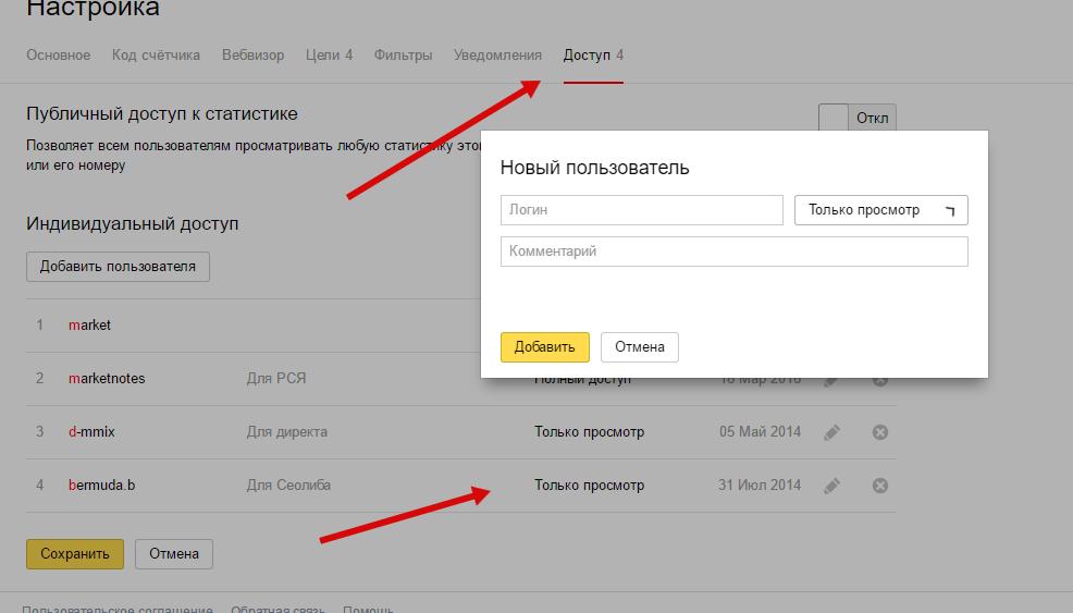 Настройка гостевого доступа в Яндекс.Метрике