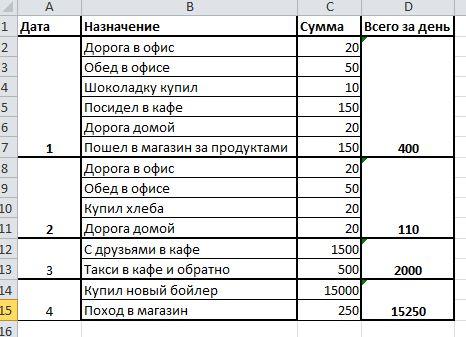 запись расходов за день для анализа